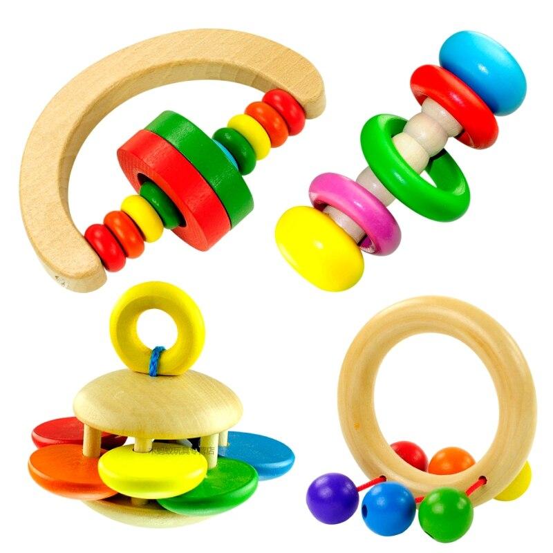 Бесплатная доставка Экологичные детские деревянные погремушки, yakuchinone ребенок колокол игрушки Детские Прорезыватели Погремушки, 3 м ребенк... ...