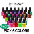 Pick 6 Color BURANO Nail Gel Newest UV Gel Polish Soak Off Nail Gel Polish 7.3ml 0.25floz