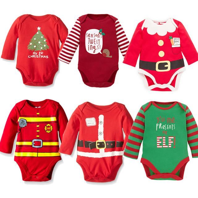 2016 Crianças Do Bebê Da Menina Do Menino Conjunto de Roupas Bodysuit Playsuit Macacão Roupas Recém-Nascido Do Bebê Do Algodão Do Bebê Feliz Natal-Roupas Outfit