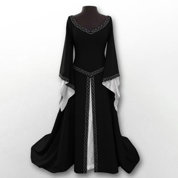 Women Sexy Flare Sleeve Medieval Dress Black Vintage Style Gothic Dress Floor Length Cosplay Dresses Retro Long Renaissance 04