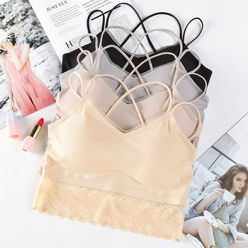 Cross Sexy Strap Tube Top Comfortable Wire Free Underwear Women Summer Seamless Bra Bralette Camisoles