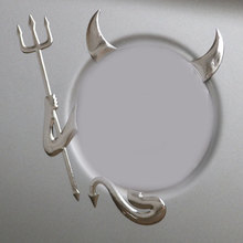 Chrome 3D Devil Decal Custom Demon Stickers