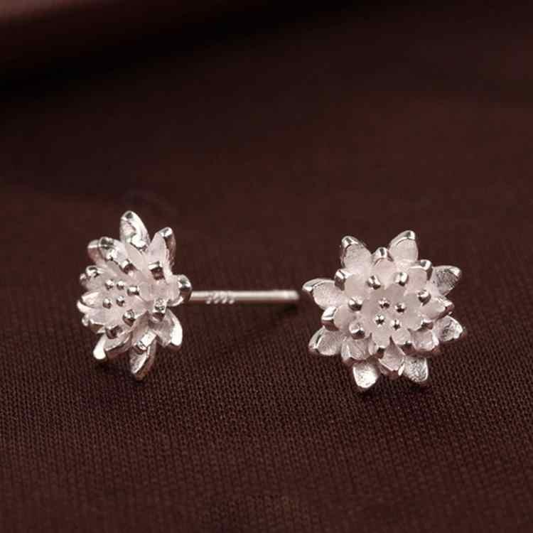 2018 mignon femme bijoux à la main femmes 925 argent fleur oreille boucles d'oreilles