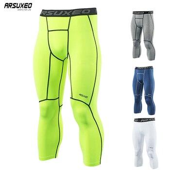 21af60b0ca3ab ARSUXEO deportes de los hombres mallas de compresión capa Base corriendo  medias pantalones 3 4 correr gimnasio activa de formación pantalones de  ejercicio ...