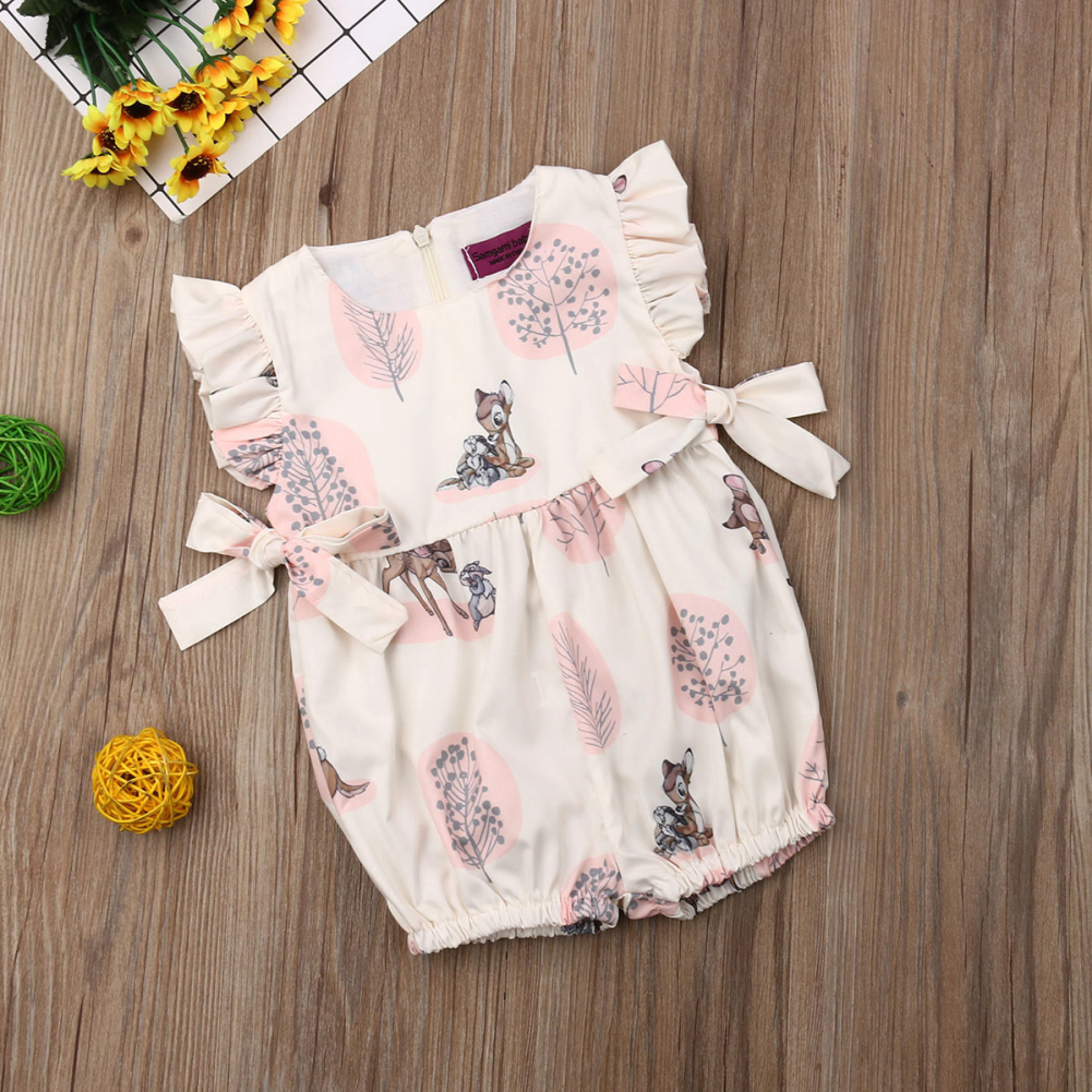 Fashion Baby Girl cute Deer Flower cotton soft Romper