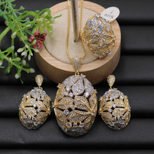 Lanyika Jewelry Set Super Luxury Big Flower Ball Micro Plated Necklace with Earrings and Ring for Engagement Trendy Gift