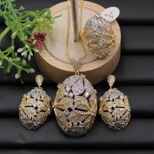 Lanyika תכשיטי סט סופר יוקרה גדול פרח כדור מיקרו מצופה שרשרת עם עגילים וטבעת אירוסין טרנדי מתנה