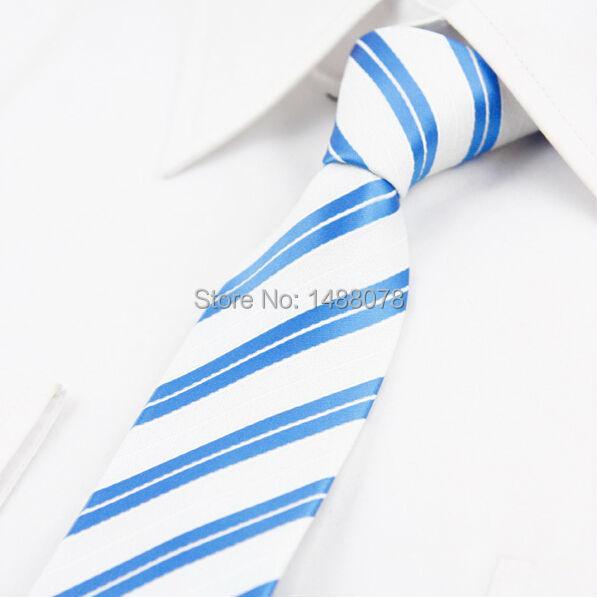 Listrado azul Branco de Microfibra Tecido Jacquard Gravata Magro Narrow Skinny Laços Dos Homens 2015 Nova Moda Corbata Gravata Listrada Azul Branco