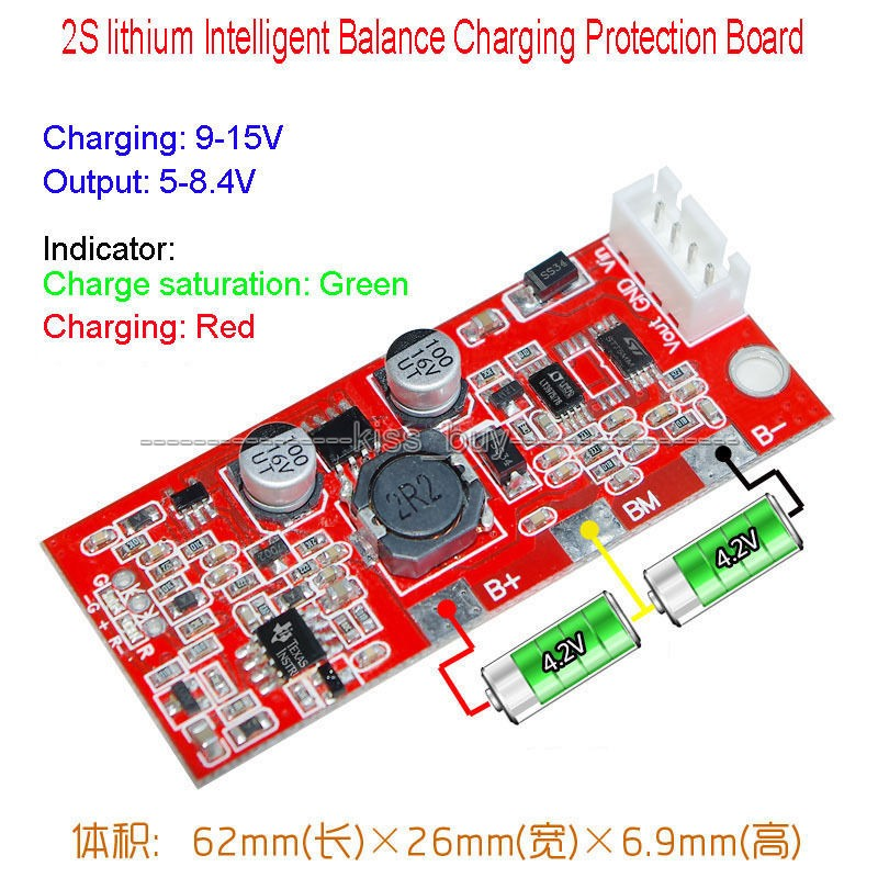 Intelligent Balance Charging Protection Board 2S Packs 18650 lithium Satellite solar panel charging power generation systems