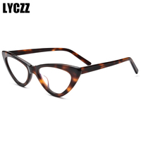 LYCZZ Fashion Vintage Acetate Glasses Frames Unisex Cat Eye Optical Eyewear Brand Designer Hand Made Top Quality Spectacle Frame