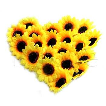 Wholesale 20pcs 7cm Sunflower Artificial Silk Flowers Heads DIY Floral Crafts Wedding Bouquets