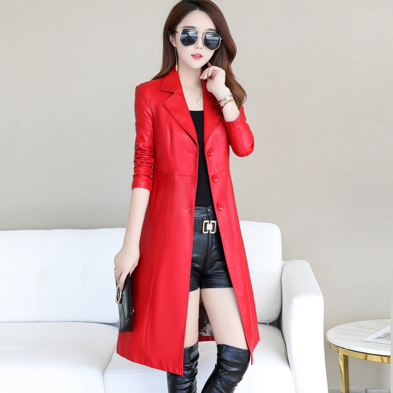 Long   Leather   Jacket Women Winter Autumn 2019 Elegant Slim Ladies Washed PU   Leather   Trench Coats Female Outerwear Plus Size 5XL