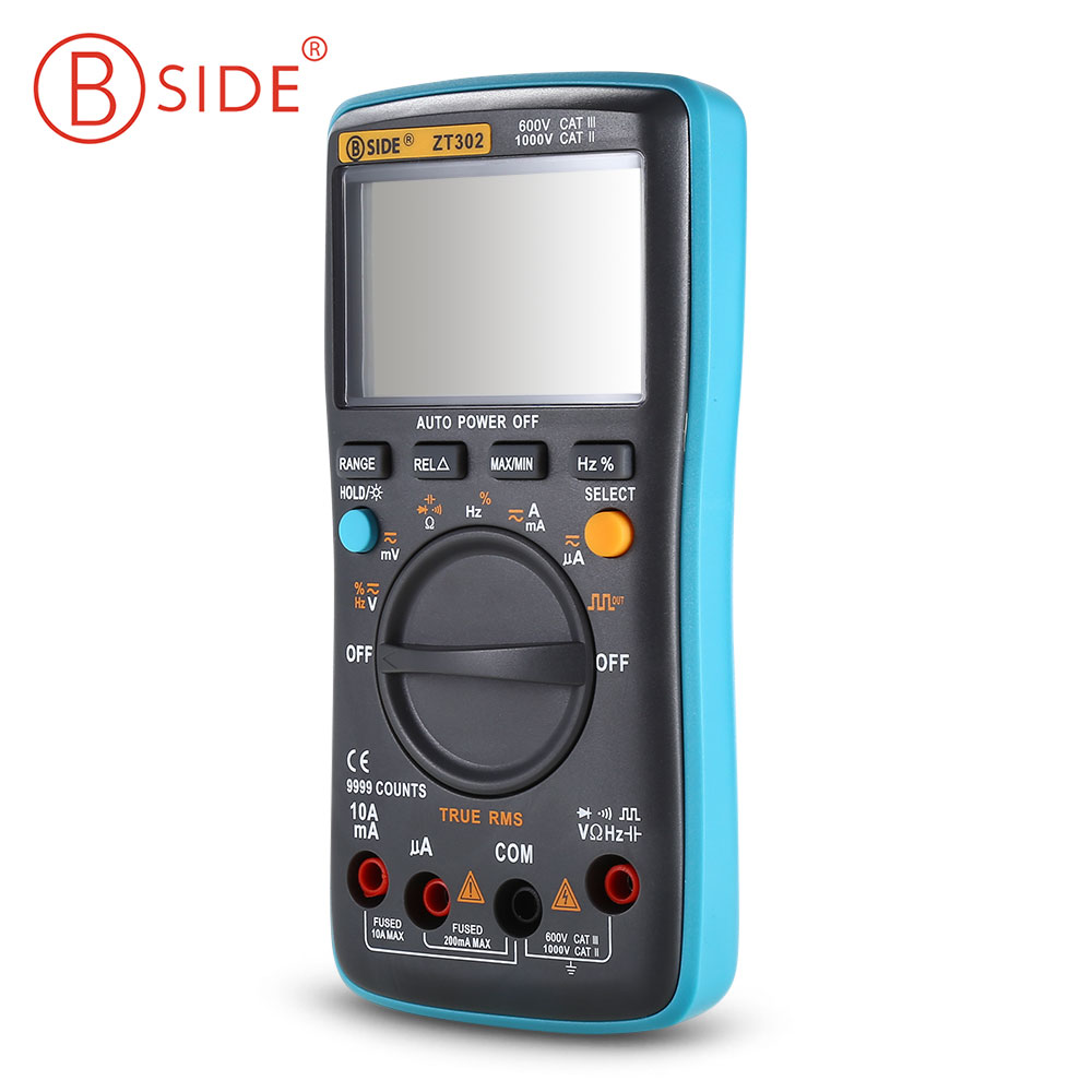 BSIDE ZT302 Portable Handheld Digital Multimeter 9999 Counts True RMS Auto Range Multimeter LCD Display Electrical Test Meter