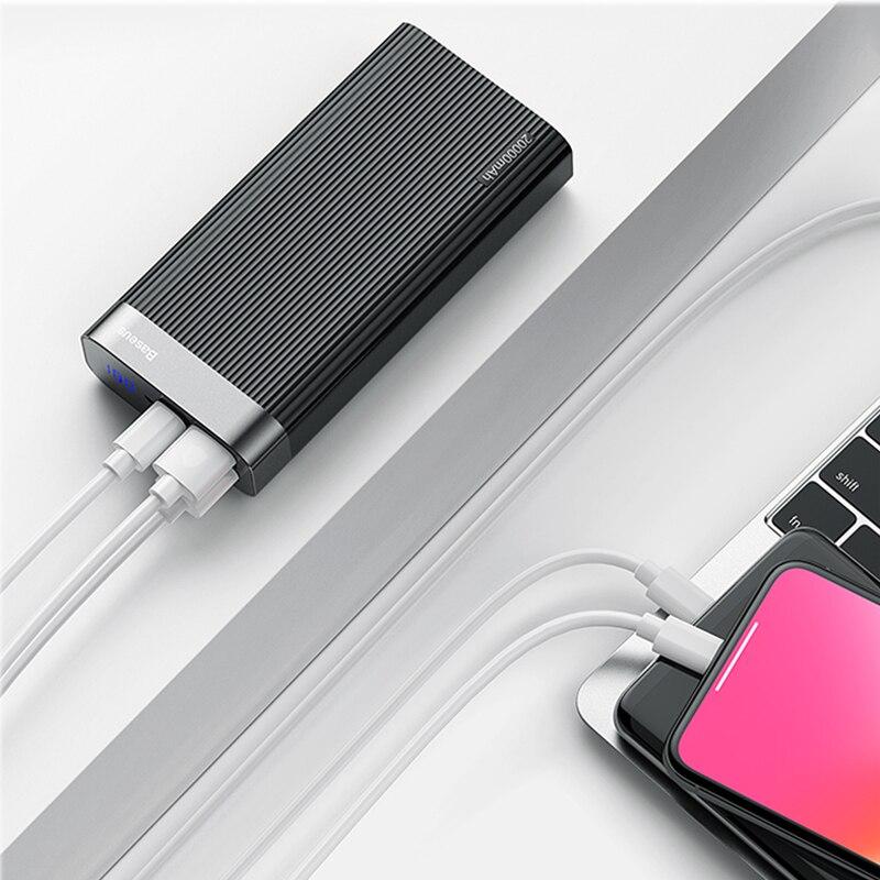Baseus 20000 mAh charge rapide 3.0 batterie externe led Affichage Double USB type C PD Rapide De Charge batterie externe Pack banque d'alimentation de chargeur - 3