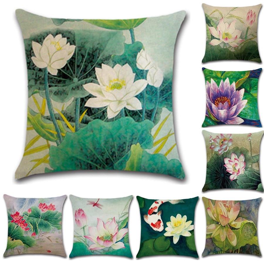Vintage Home Decorative Cotton Linen Pillow Case Cushion Covers Lotus Pattern