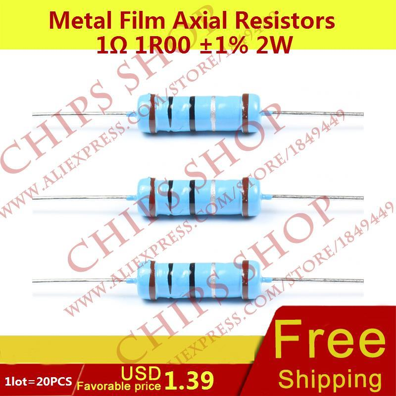 1LOT=20PCS Metal Film Axial Resistors 1ohm 1R00 1% 2W Wattage2W resistor assorted
