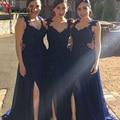 Navy Blue Bridesmaid Dress Lace Appliques Sequins Side Slit Long Dresses Vestido de Noche