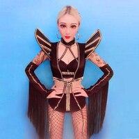 New Nightclub Bar Adult DS Performance Costume DJ Female singer Jazz Dance Sexy Air flow Su lead dance dress