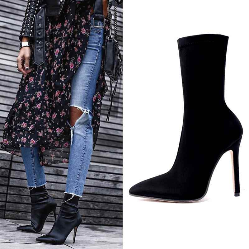 018efd25dce7 EOEODOIT High Stiletto Heels Elastic Boots Lycra Boot 2019 Spring Summer  Autumn Women Sexy Pointy Toe