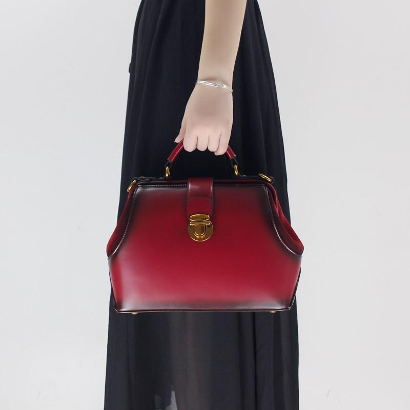 2018 new handmade Messenger shoulder buckle leather simple original retro diagonal package women