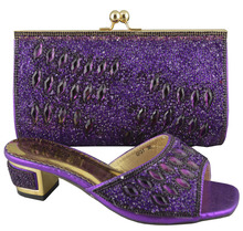 Purple GF31 High Quality Excellent Style African shoes and bag high heel for wedding and party