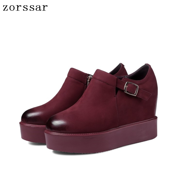 Zorssar 2019 Autumn women flats platform sneakers shoes   leather     suede   casual shoes slip on flats heels creepers moccasins