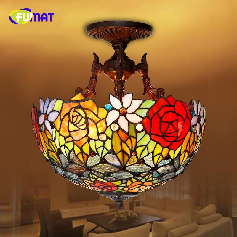 FUMAT Stained Glass Ceiling Lamp European Style LED Rose Ceiling Lamp for Living Room Hotel Elegant Classic Lamp Restaurant Lamp