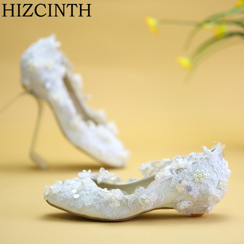 HIZCINTH 2018 Spring/autumn Wedding Shoes For Girls Bead Genuine Leather White Bride FLats Shoes Woman Elegant Zapatos Mujer girls and ladies favorite white roller skates with full grain genuine leather dual lane roller skate shoes for adult skating