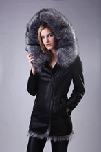 Factory direct supplier 2015 new women's fashion fox fur hooded coat warm winter large size high-quality brand sheepskin suede