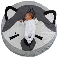 Baby Game Blanket Play Mat Cartoon Fox Lion Round Carpet Children Room Decoration Floor Washable Rugs