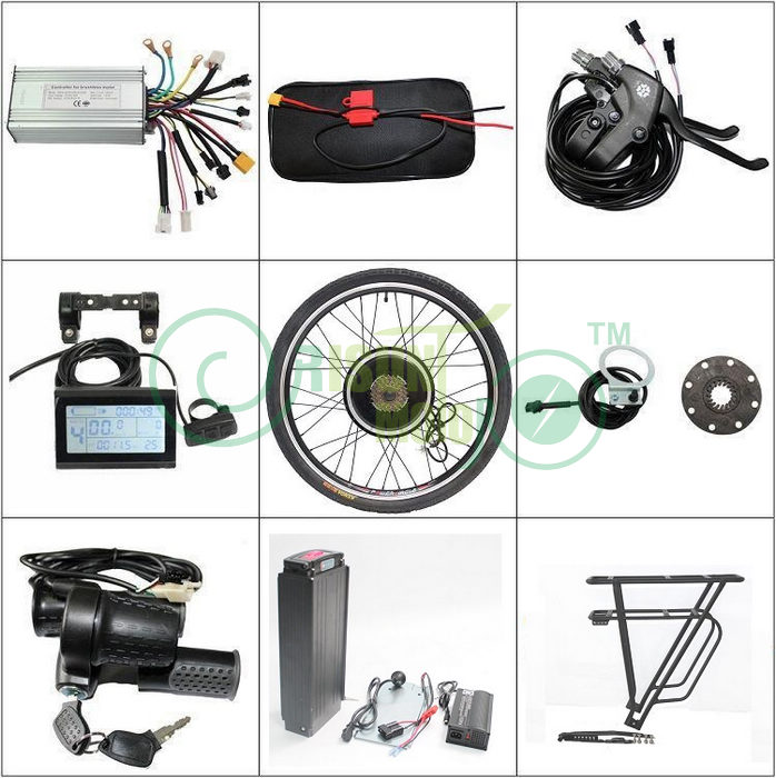 EU FUTY FREE Shipping 48V 20AH Rear Carrier Battery 5A Charger 1000w 26 Ebike Motor Wheel+Controller LCD+Brake Lever+Throttle