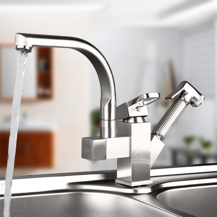 Stretched brushed kitchen faucet hot and cold Copper dish basin faucet mixer tap Rotated kitchen sink