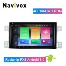 Navivox Android 8.0 PX5 Ram 4G Car Multimedia Player GPS Radio Stereo Audio Per Suzuki Grand Vitara 2005- 2012 Multimedia DVD GPS