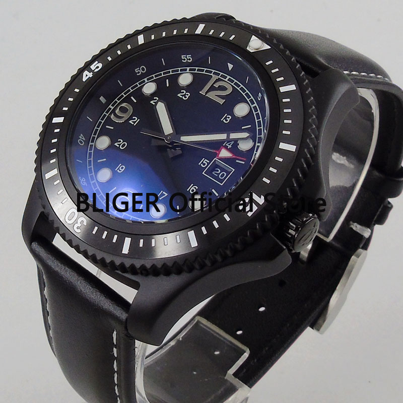 Luxury 44mm BLIGER Black Sterile Dial Black Ceramic Bezel Black PVD Coated Case Luminous Miyota Automatic Movement Men's Watch