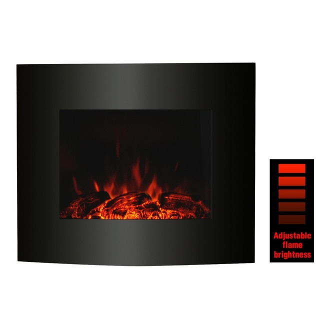 1800W 220V Black Electric Led Fireplace Wall Mounted With Mantle Chiminea  Home Heater Flame Effect EU