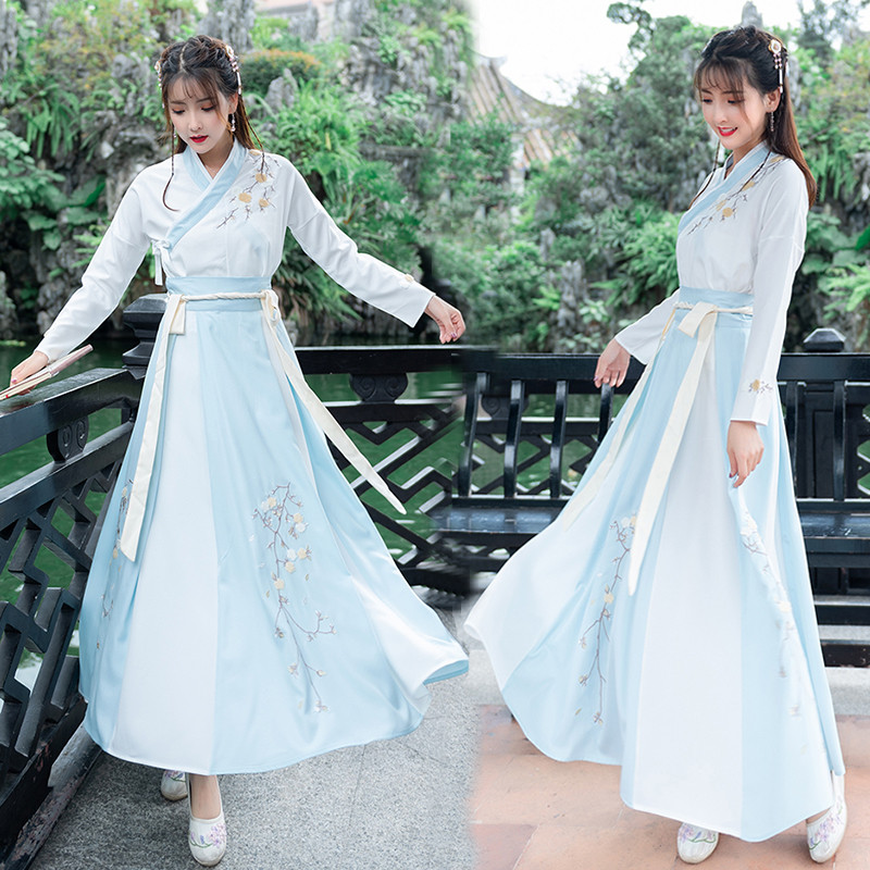 Hanfu female costume fairy Chinese style elegant fresh and elegant improved ancient daily routine costumes
