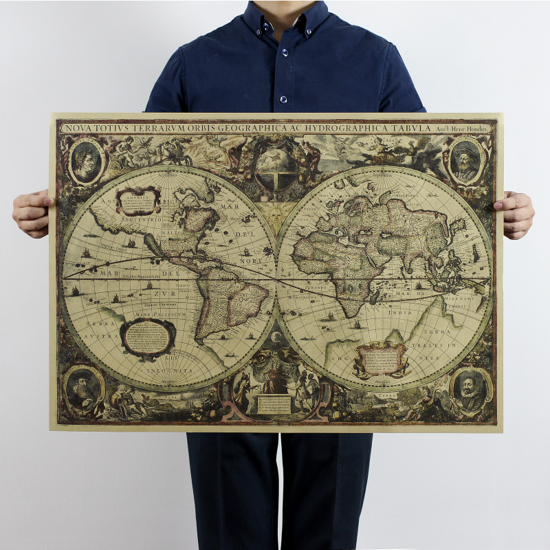 1641 Old Nautical Chart World Map Earth Map 72.5x51.5cm/kraft Paper/bar Poster/Retro Poster/decorative Painting