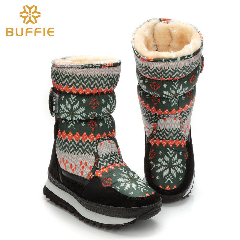 2017 Snow Boys Girl Boots Army Green snowflake colour Big size 27 to 41 Warm plush fur Boots Children winter boots free shipping