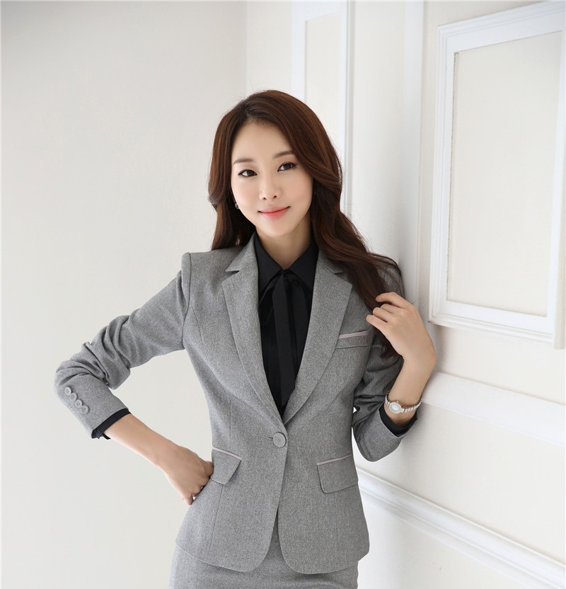 New Novelty Grey Uniform Design 2015 Autumn Winter Professional Business Women Blazers Jackets ...