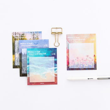 Painting landscape memo pad planner sticky notes paper sticker notepad kawaii stationery pepalaria office school supplies 1