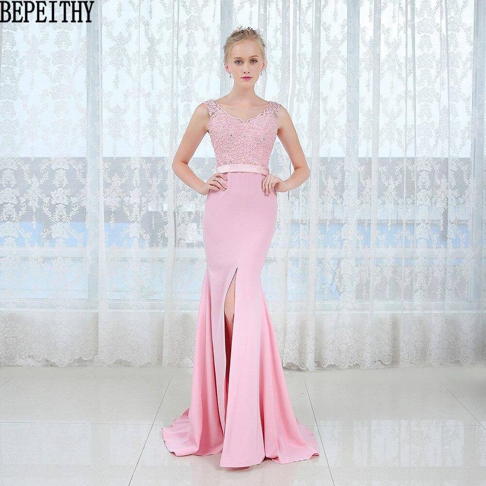 BEPEITHY Straight Lace Long   Prom     Dresses   2017 Vestido De Festa Longo Sexy High Slit Evening   Dress   Party Elegant New Arrival