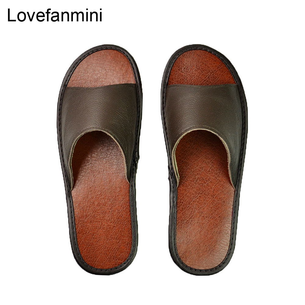 Genuine Cow Leather Slippers Couple Indoor Non-slip Men Women Home Fashion Casual Single Shoes PVC Soft Soles Spring Summer 515