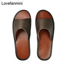 Pantoufles en cuir véritable pour couple dintérieur, antidérapantes, chaussures de maison, décontracté, semelles souples en PVC, printemps et été 515