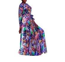 2019 Long Sleeve Tropical Beach Dress Bohemian Boho Maxi Leopard Print Dresses Casual V Neck Chiffon