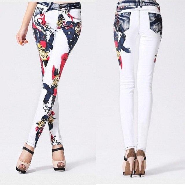Новая Мода джинсы Женские Случайные Белый Карандаш жан брюки Девушка Мыть печати Шаблон джинсы Узкие Длинные женские Капри Женщина
