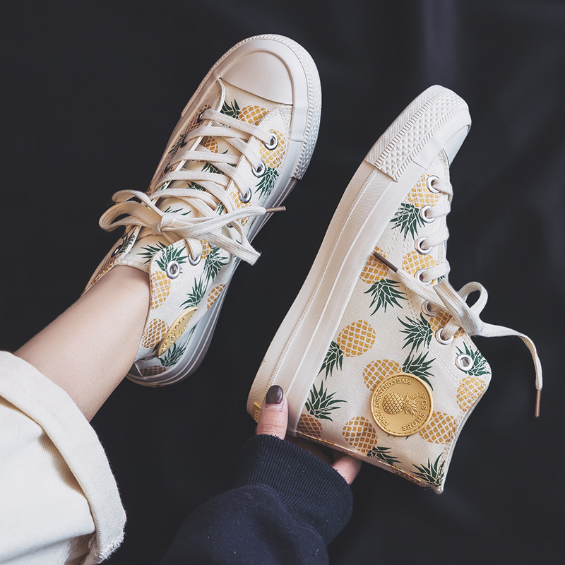 Fruit Pineapple Canvas Shoes Women Spring 2019 New Vulcanized Shoe Cute Cherry Lovely Girls Sneakers High Up Lacing Nice Quality