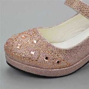 Image 5 - ULKNN 2020รองเท้าแตะสำหรับสาวเด็กRhinestoneส้นสูงแต่งงานรองเท้าเจ้าหญิงรองเท้าสีชมพูสีแดงเงินทอง25 30สาว