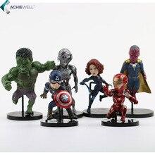Marvel Avengers 2 Age de Ultron Hulk viuda negro visión nocturna Ultron Iron Man capitán américa figuras de acción juguetes modelo 6 unids/set