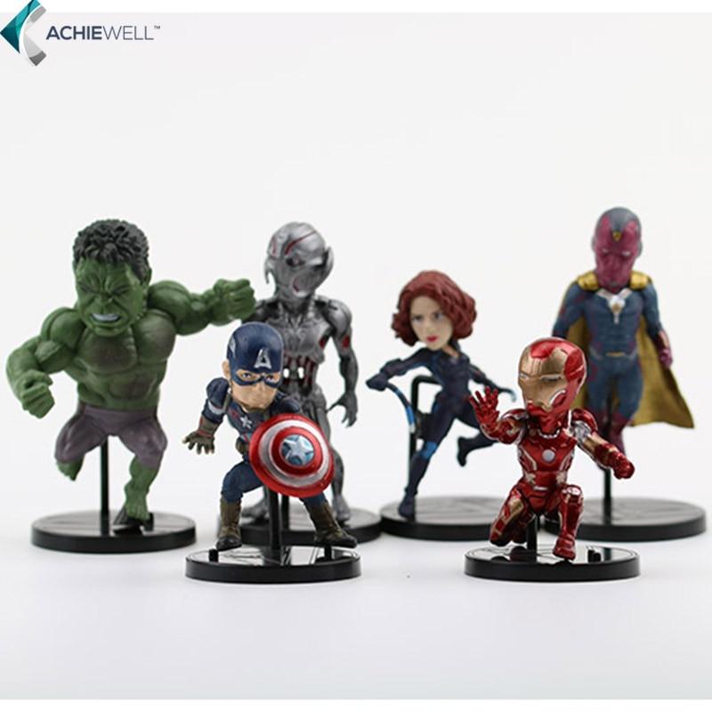 Marvel Avengers 2 Age of Ultron Hulk Black Widow Vision Ultron Iron Man Captain America Action Figures Model Toys 6pieces/set