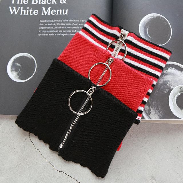 [TWOTWINSTYLE] 2016 Winter Circular Zipper 100% Wool Knit Warm Ring Choker Scarf Women 4 Color New Fashion